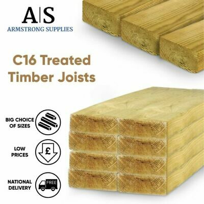 £98.50 • Buy Decking Joists Framing Timber C16 Treated 3X2 4X2 6X2 Inch Pack Deals