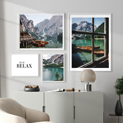 $ CDN11.02 • Buy Nordic Mountain Lake Canvas Painting Nature Landscape Poster Modern Home Decor