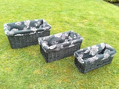 £24.99 • Buy Natural Wicker Oblong Black Basket Set Of 3 Small Medium Large With Linen Liners