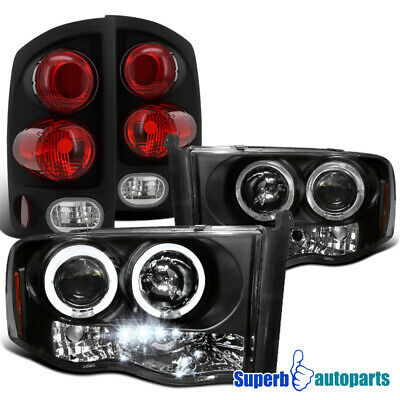 $176.66 • Buy For 2002-2005 Ram Black Projector Headlights+3D Style Tail Lights Brake Lamp