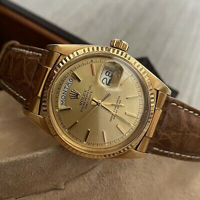 £5750 • Buy Authentic Rolex Day Date 1803 German 36MM 18K Gold Crocodile