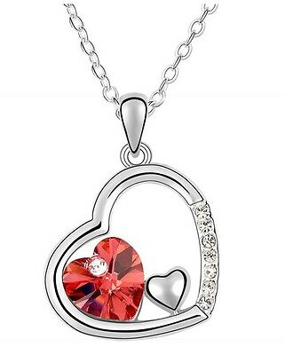 AU9.33 • Buy Valentines Day Gift Silver Chain Red Heart Pendant Love Crystal Necklace N110