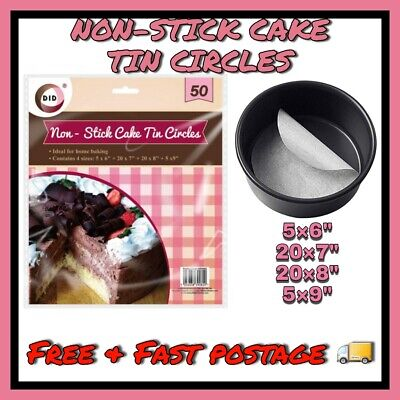 50 Pack Greaseproof Non Stick Paper Cake Tin Circles Baking Liners 6 7 8 9 Inch • 2.99£