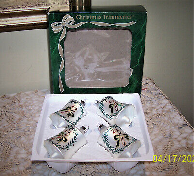 $ CDN7.44 • Buy Vintage Bradford Christmas Trimmeries Hand Decorated Glass Bell Ornaments (4)