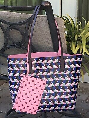 $ CDN139.66 • Buy Kate Spade Arch Love Birds Large Reversible Tote Shoulder Bag Pink Blue W/ Pouch