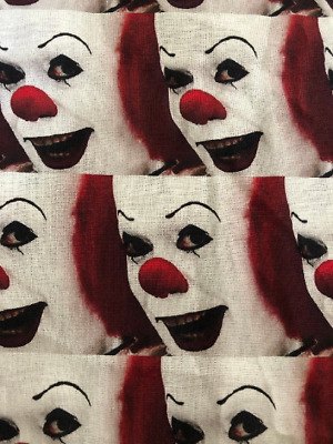 £7.15 • Buy IT Stephen King Clown Face 100% Cotton Fabric 1/4 Yard Penny Wise