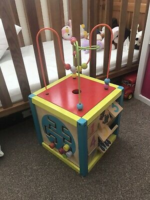 £15 • Buy WOODEN ACTIVITY CUBE BABY TODDLER TOY LARGE CHAD VALLEY Clock Chalk Board Pegs