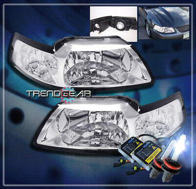 $109.95 • Buy 99-04 Ford Mustang Crystal Headlight+hid 8k Lamp Chrome 00 01 02 03 Gt Svt Cobra