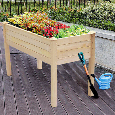 £59.95 • Buy Garden Wooden Planter Vegetable Flower Raised Bed Herb Grow Box Container High