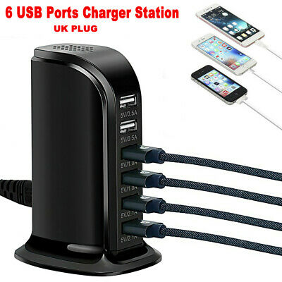 AU16.79 • Buy 6 Port Charging Station USB Desktop Charger Rapid Tower Power Adapter Wall HUB~M