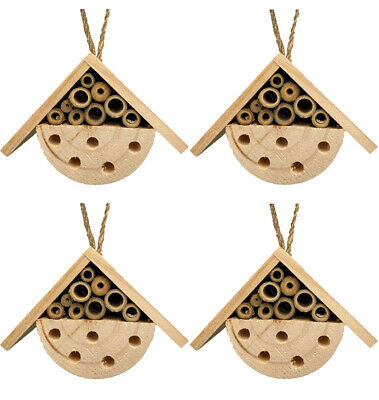 £13.95 • Buy Set 4 X Hanging Natural Wooden Bee & Insect House Garden Wood Nesting Shelter 06