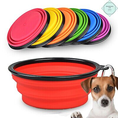 Cat Dog Bowl Food Water Foldable Feeding Silicone Collapsible Portable Travel • 2.89£