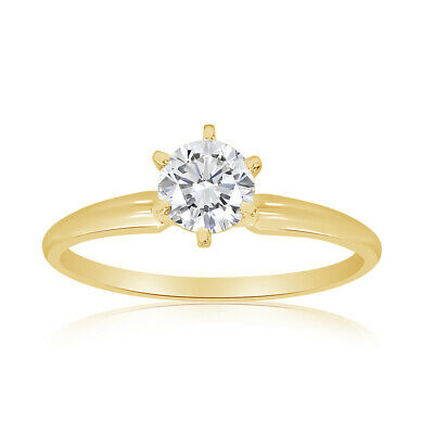$599.95 • Buy 1/2 Carat TW Diamond Solitaire Engagement Ring In 14k Yellow Gold (H-I2)