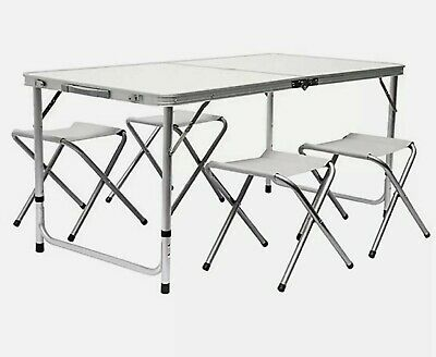 £33.69 • Buy 4ft Folding Camping Table Aluminium Picnic Portable Adjustable Party Bbq Outdoor