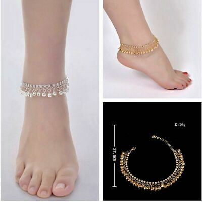 £5.68 • Buy 1x Antique Ankle Chain Gold Silver Anklet Indian Payal Foot Chain With Bells
