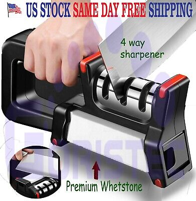 $11.95 • Buy 3 Stages + Whetstone Knife Sharpener 4 In One Professional  Scissor Tool System