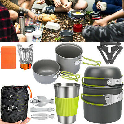 £17.85 • Buy 8PCS/Set Camping Cookware Outdoor Picnic Hiking Cooking Pot Pan Stove Equipment