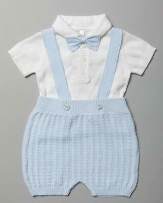 £15.99 • Buy 2021 Baby Boys Spanish Romany Knitted Strap Shorts Polo Shirt & Bow Tie Outfit