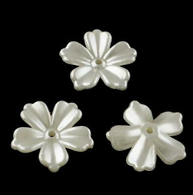 £2.59 • Buy 20 OPAQUE IVORY PEARL PETAL FLOWER BEADS LUCITE ACRYLIC 20mm WEDDING LUC70