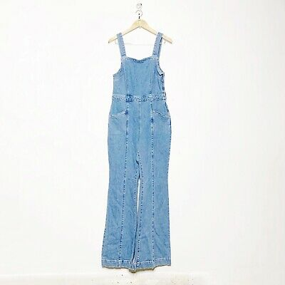AU127.51 • Buy Free People Womens Aurora One Piece Jumpsuit Overalls Blue Wide Leg Stretch 12