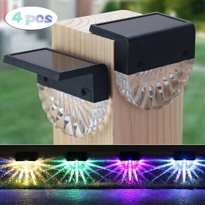 £11.99 • Buy 4PCS LED Solar Fence Wall Lights Garden Lamp Step Outdoor Patio Yard Decking UK