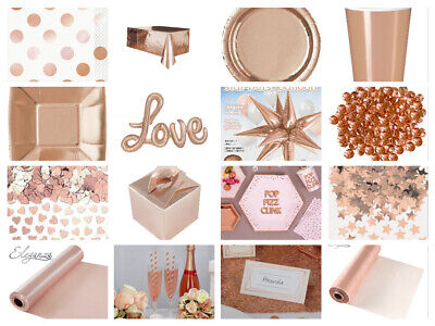 £1.99 • Buy Rose Gold Party Tableware Napkins Cups Plates Straws Crystals Confetti Candles