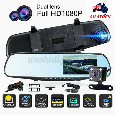 AU35.99 • Buy 1080P Dash Camera 4.3  Rear View Dual Len Car DVR Cam Reversing Mirror Recorder