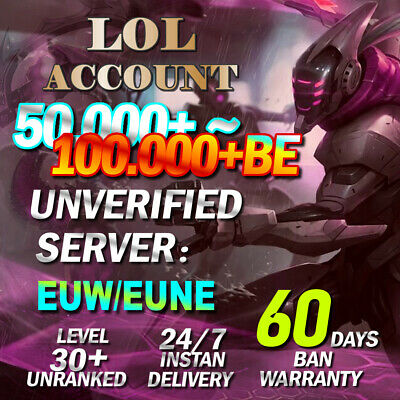 £1.99 • Buy EUW EUNE League Of Legends Account LOL Smurf 50,000~100.000 BE Level 30 Unranked