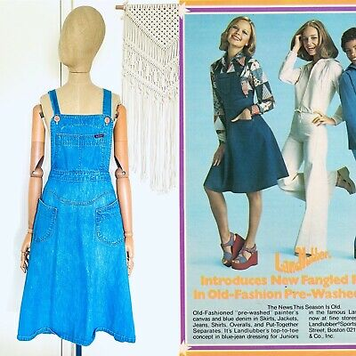 AU286.93 • Buy Vintage LANDLUBBER Denim Overall Dress Women's Size 31 1970's RARE Made In USA