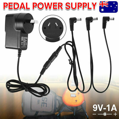 AU15.99 • Buy Guitar Effect Pedal Power Supply Adapter AU 9V DC 1A & 3 Way Splitter Cable Cord