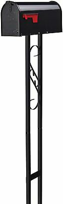 $43.85 • Buy Outside Mailbox With Post Stand All-in-One Decor Combo Galvanized Steel Black