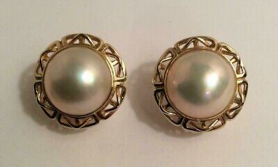 $649 • Buy 14k Yellow Gold Mabe Pearl Earrings Omega Back
