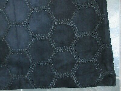 $ CDN75 • Buy DANIER Black Real Genuine Suede Leather Embroidered Hexagons Lined Skirt