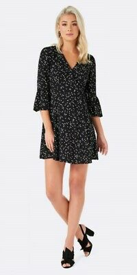 AU35 • Buy Forever New Designer Size 16 Casual Work Evening Party Star Print Wrap Dress