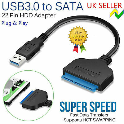 £4.29 • Buy USB 3.0 To SATA 22 Pin 2.5 Inch Hard Disk Drive SSD Adapter Connector Lead Cable