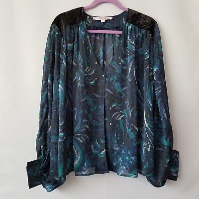 £7.09 • Buy The Nicole Richie Collection Women's Dolman Print Sheer Top Size Large 1au4