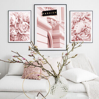 AU21.34 • Buy Peony Flower Canvas Print Fashion Pink Floral Wall Art Poster Modern Home Decor