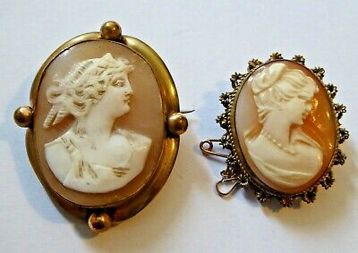 2 X Antique Vintage Carved Shell Cameo Brooches / Pendants  • 9.50£