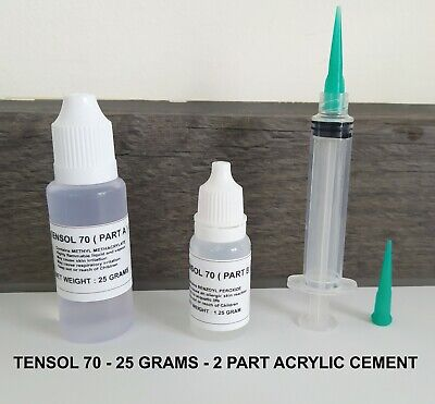 £7.25 • Buy TENSOL 70 Acrylic Cement - 25 Grams + Dispensing Syringe With 2 Tips + Gloves