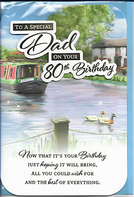 £2.65 • Buy Dad 80th Birthday Greeting Card 9 X6  Canal Boat Design Free P&p