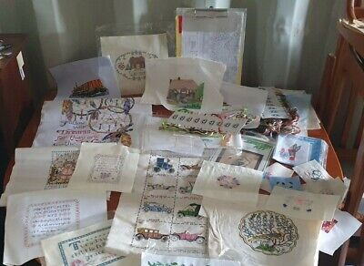 £30 • Buy A Collection Of Finished Cross Stitch Embroidery Tapestry - Vintage Cars Cottage