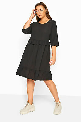 £12.98 • Buy Limited Collection Women's  Black Frill Smock Dress Plus Size Curve Black Size
