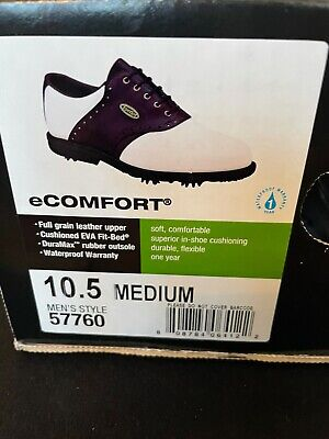 $65 • Buy FootJoy EComfort White Leather Upper Brown Saddle Mens Golf Shoes 10.5M #57760