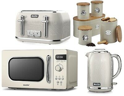 £279.99 • Buy Matching Set Breville Toaster & Kettle With COMFEE' Microwave And Storage CREAM