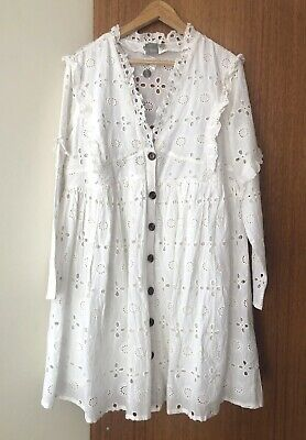 AU9.99 • Buy ASOS Design White Broderie Button Through Tiered Smocked Dress Size 14 Maternity