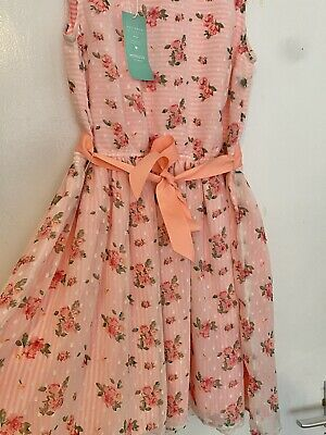 £24.99 • Buy Pink Orange Monsoon Floral Flower Girl Party Occasion Dress Size 12-13y