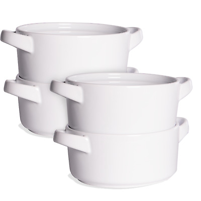 £11.99 • Buy Soup Bowls With Handles Set Of 4 Cereal Pasta Stew Bowl Serving Bowls M&W