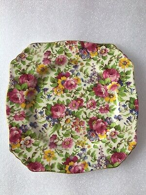 "$ CDN44.60 • Buy 6"" Royal Winton Grimwades Bone China England Summertime Square Bread Plates (4)"