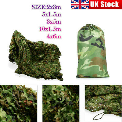 Camouflage Netting Camo Net UK Hunting Shooting Camping Army Green Hide Cover • 12.49£