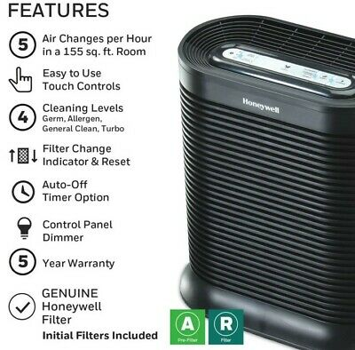 Honeywell True HEPA Air Purifier Allergen Remover Clean Air Bedroom Home NEW • 49.50£